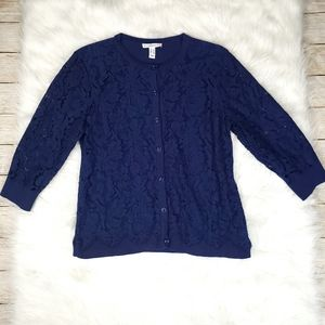 Isaac Mizrahi Blue Cardigan With Lace Overlay